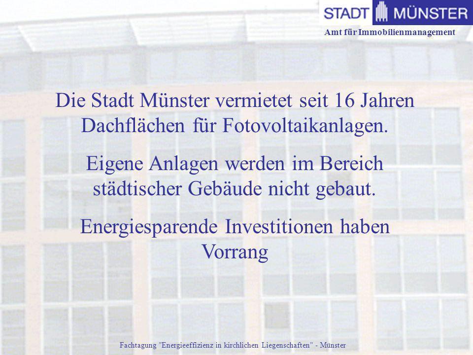 Amt für Immobilienmanagement Fachtagung Energieeffizienz in kirchlichen Liegenschaften - Münster