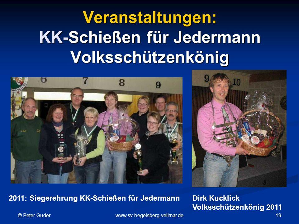 © Peter Guder 19www.sv-hegelsberg-vellmar.de Veranstaltungen: KK-Schießen für Jedermann Volksschützenkönig 2011: Siegerehrung KK-Schießen für JedermannDirk Kucklick Volksschützenkönig 2011