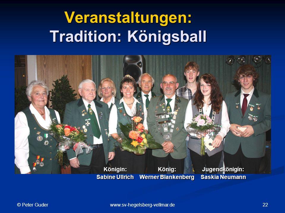 © Peter Guder 22www.sv-hegelsberg-vellmar.de Veranstaltungen: Tradition: Königsball Königin: Sabine Ullrich König: Werner Blankenberg Jugendkönigín: Saskia Neumann