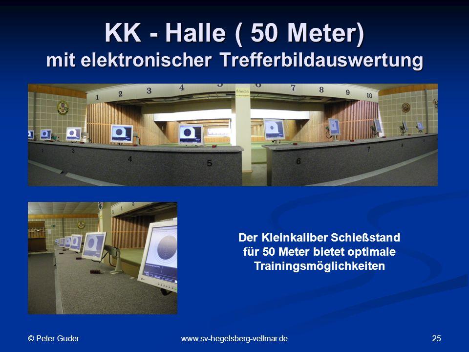© Peter Guder 25www.sv-hegelsberg-vellmar.de KK - Halle ( 50 Meter) mit elektronischer Trefferbildauswertung Der Kleinkaliber Schießstand für 50 Meter bietet optimale Trainingsmöglichkeiten