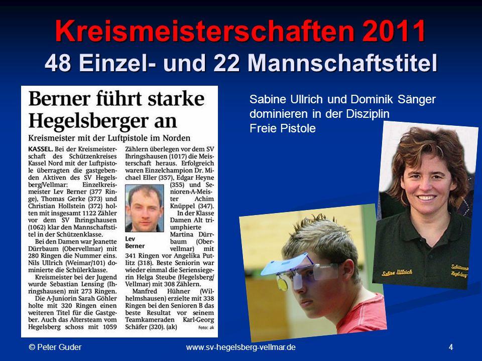 © Peter Guder 5www.sv-hegelsberg-vellmar.de Kreismeisterschaften 2011 LG-Auflage: 7 Kreismeister KK-Auflage: 6 Kreismeister K.-Heinz Rauhe, Helga Beyer, W.