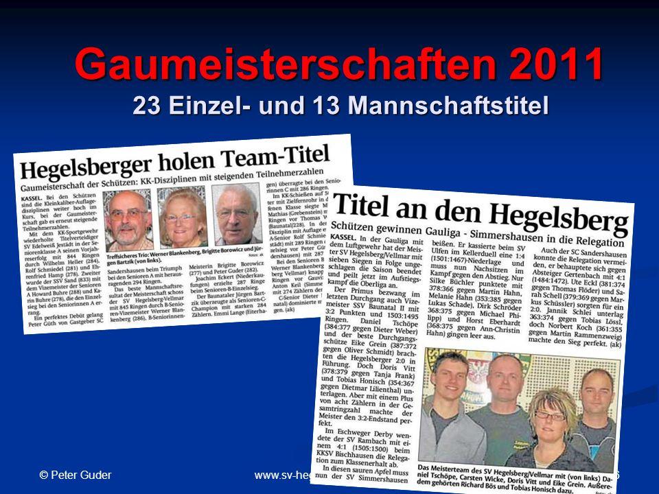 © Peter Guder 7www.sv-hegelsberg-vellmar.de Hessische Landesmeisterschaft 2011 6 Gold – 4 Silber – 3 Bronze Helga Steube Hessenmeisterin Sportgewehr Auflage