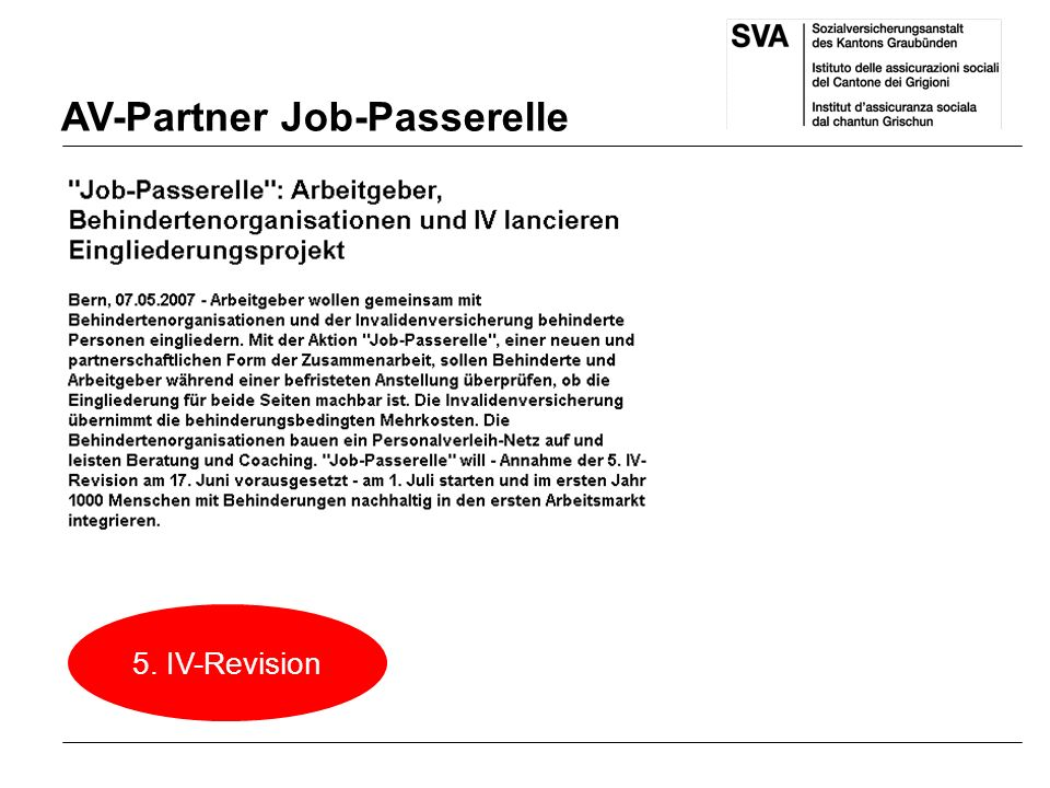 AV-Partner Job-Passerelle 5. IV-Revision