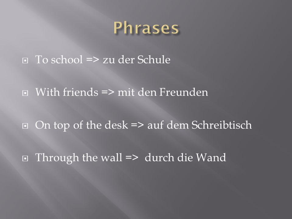 To school => zu der Schule With friends => mit den Freunden On top of the desk => auf dem Schreibtisch Through the wall => durch die Wand