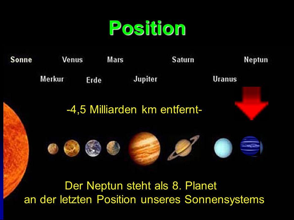 Position Der Neptun steht als 8. Planet an der letzten Position unseres Sonnensystems -4,5 Milliarden km entfernt-