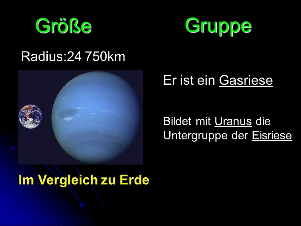 Größe Radius:24 750km Bildet mit Uranus die Untergruppe der Eisriese Gruppe Er ist ein Gasriese Im Vergleich zu Erde