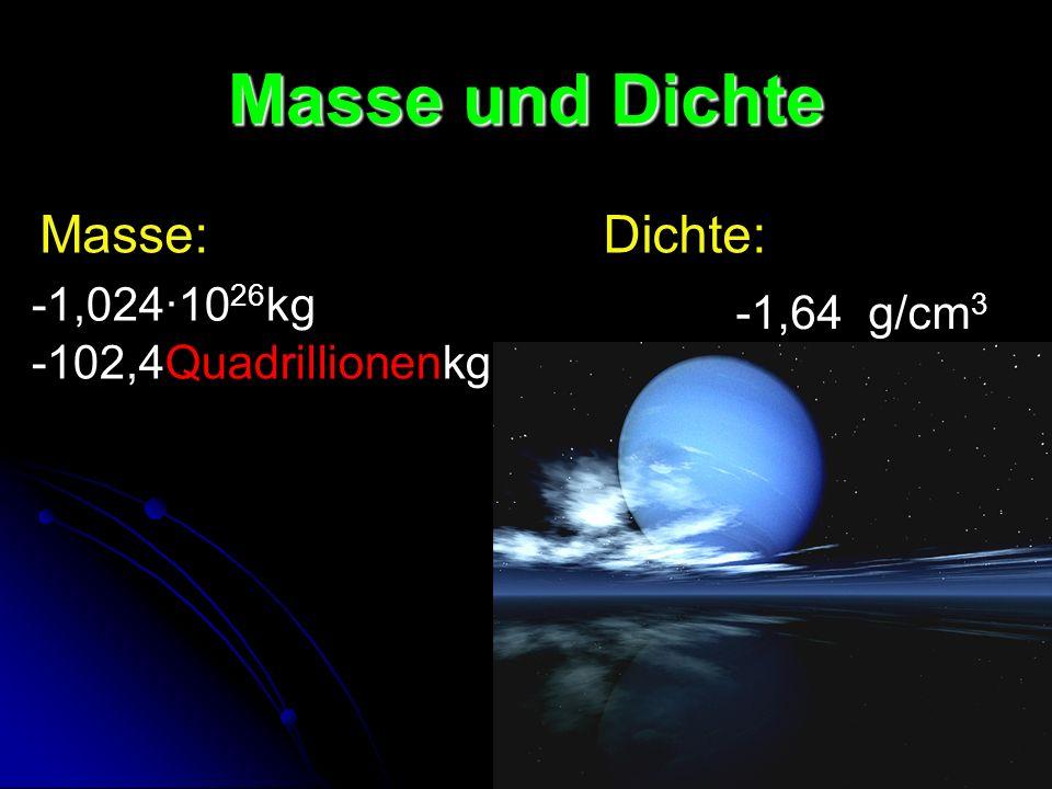 Masse und Dichte -1,024·10 26 kg -102,4Quadrillionenkg -1,64 g/cm 3 Masse:Dichte: