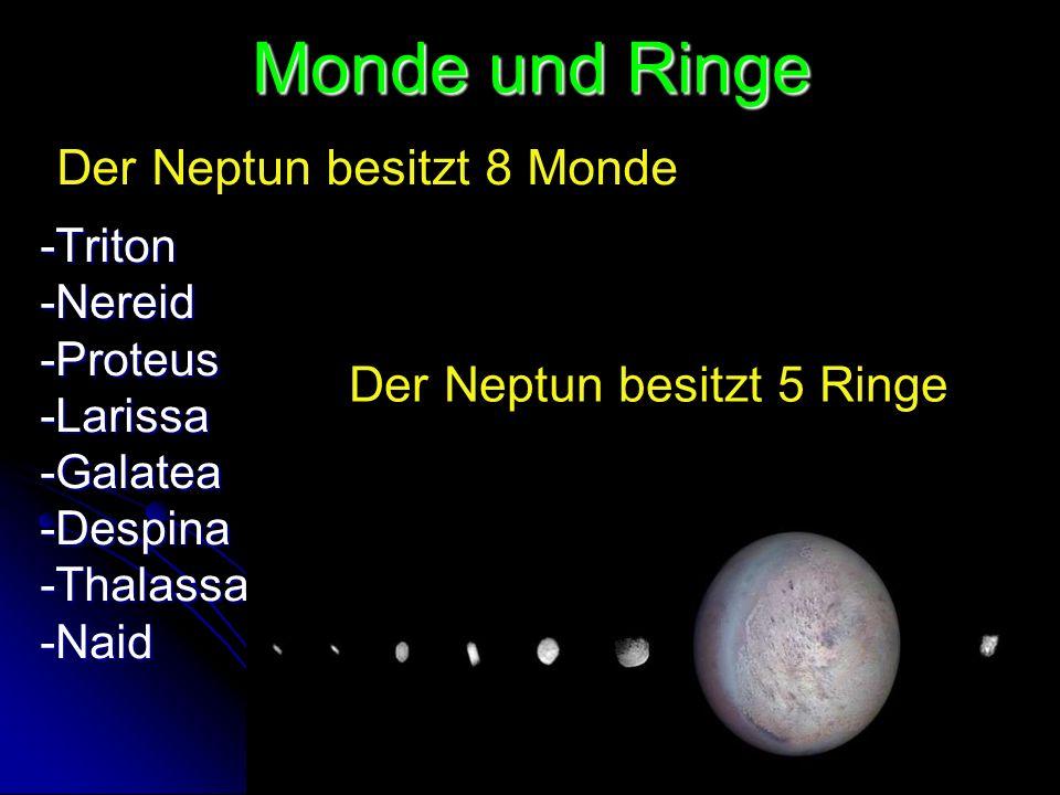 Monde und Ringe -Triton-Nereid-Proteus-Larissa-Galatea-Despina-Thalassa-Naid Der Neptun besitzt 8 Monde Der Neptun besitzt 5 Ringe
