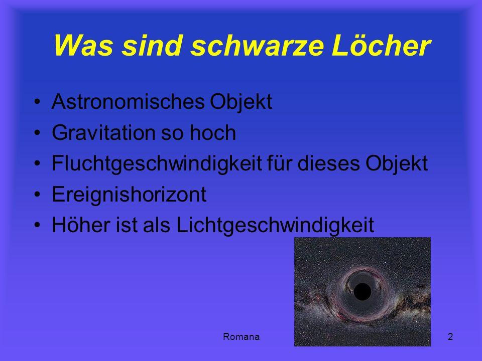 Romana2 Was sind schwarze Löcher Astronomisches Objekt Gravitation so hoch Fluchtgeschwindigkeit für dieses Objekt Ereignishorizont Höher ist als Lich