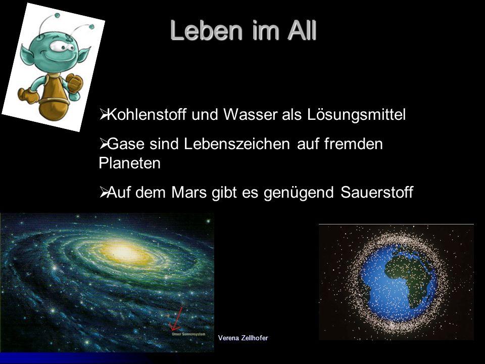 Verena Zellhofer Leben im All Kohlenstoff und Wasser als Lösungsmittel Gase sind Lebenszeichen auf fremden Planeten Auf dem Mars gibt es genügend Saue