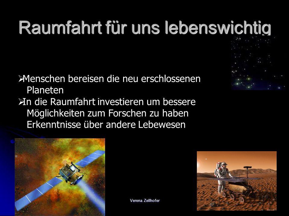 Verena Zellhofer Raumfahrt für uns lebenswichtig Menschen bereisen die neu erschlossenen Planeten In die Raumfahrt investieren um bessere Möglichkeite