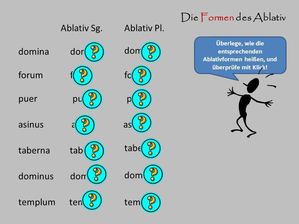 Die Formen des Ablativ Überlege, wie die entsprechenden Ablativformen heißen, und überprüfe mit Klick! domina Ablativ Sg.Ablativ Pl. domina dominis fo