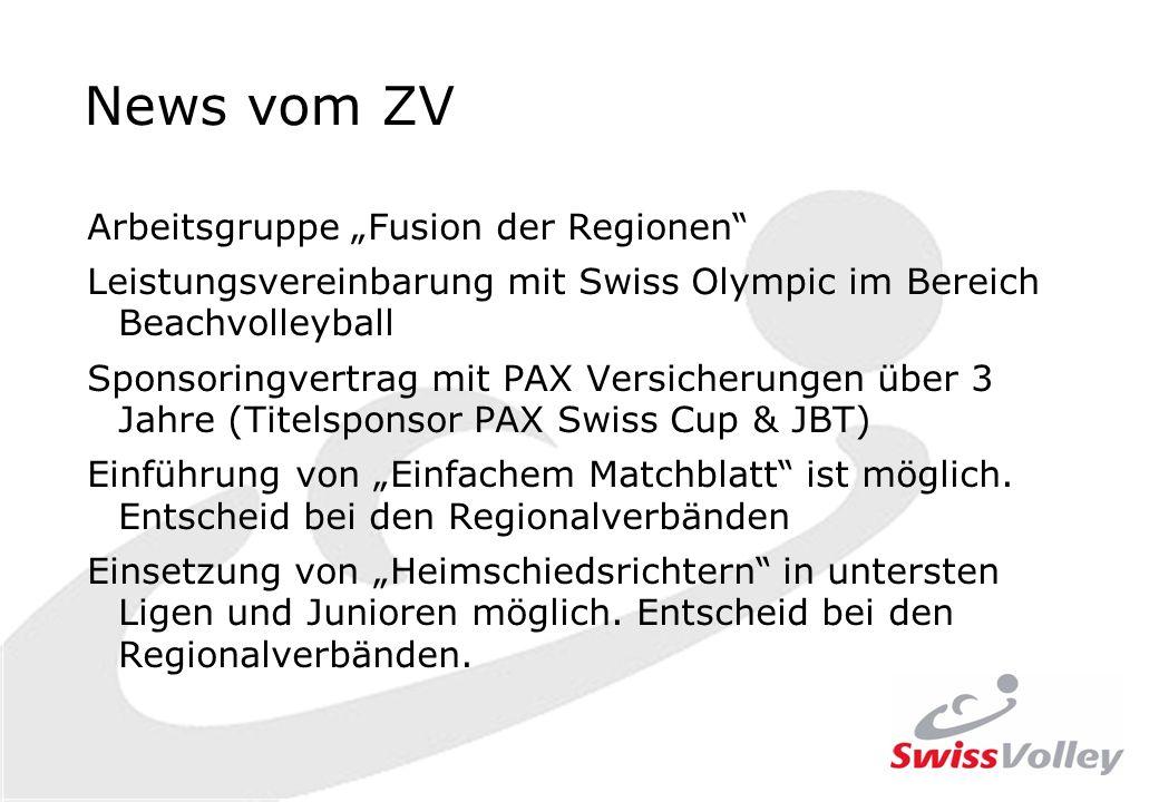 Arbeitsgruppe Fusion der Regionen Leistungsvereinbarung mit Swiss Olympic im Bereich Beachvolleyball Sponsoringvertrag mit PAX Versicherungen über 3 Jahre (Titelsponsor PAX Swiss Cup & JBT) Einführung von Einfachem Matchblatt ist möglich.