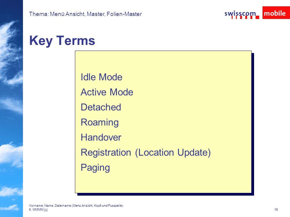 Thema: Menü Ansicht, Master, Folien-Master 15 Vorname, Name, Dateiname (Menü Ansicht, Kopf-und Fusszeile) tt.