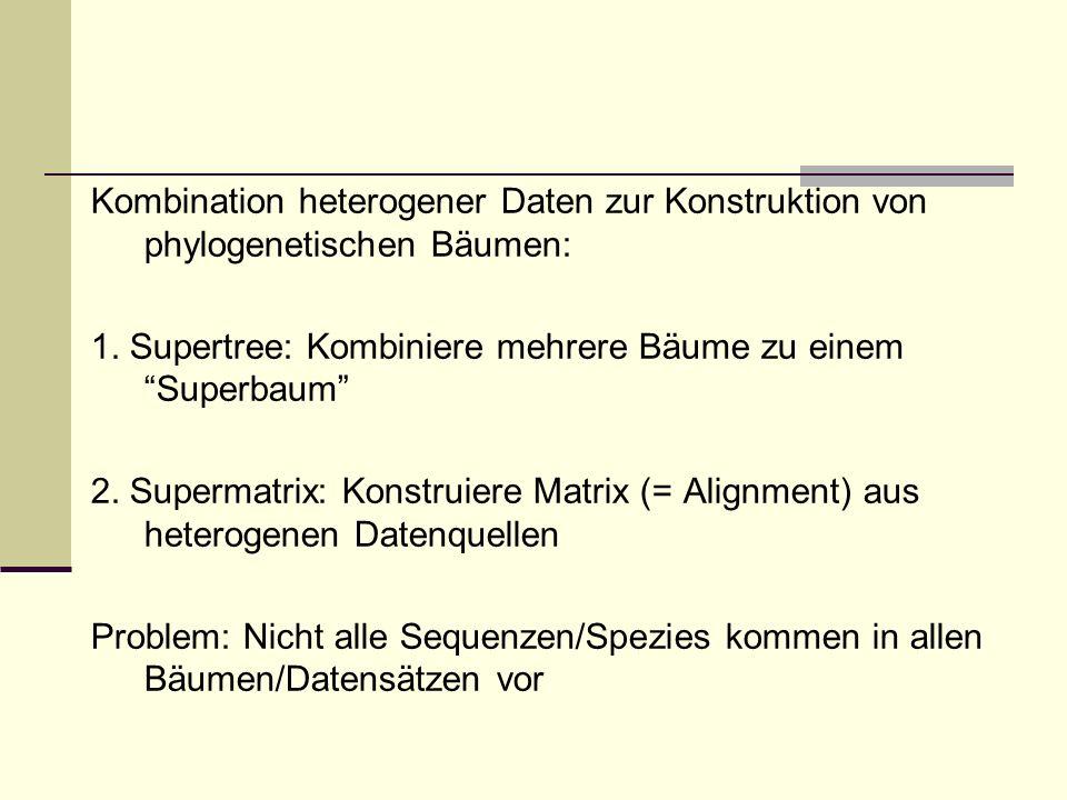 Kombination heterogener Daten zur Konstruktion von phylogenetischen Bäumen: 1. Supertree: Kombiniere mehrere Bäume zu einem Superbaum 2. Supermatrix: