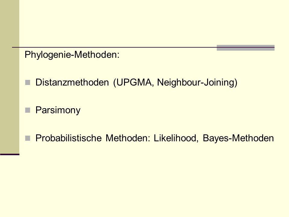 Phylogenie-Methoden: Distanzmethoden (UPGMA, Neighbour-Joining) Parsimony Probabilistische Methoden: Likelihood, Bayes-Methoden