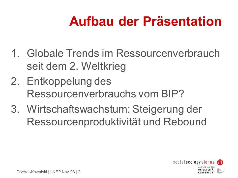Fischer-Kowalski | UNEP Nov. 08 | 2 Aufbau der Präsentation 1.Globale Trends im Ressourcenverbrauch seit dem 2. Weltkrieg 2.Entkoppelung des Ressource