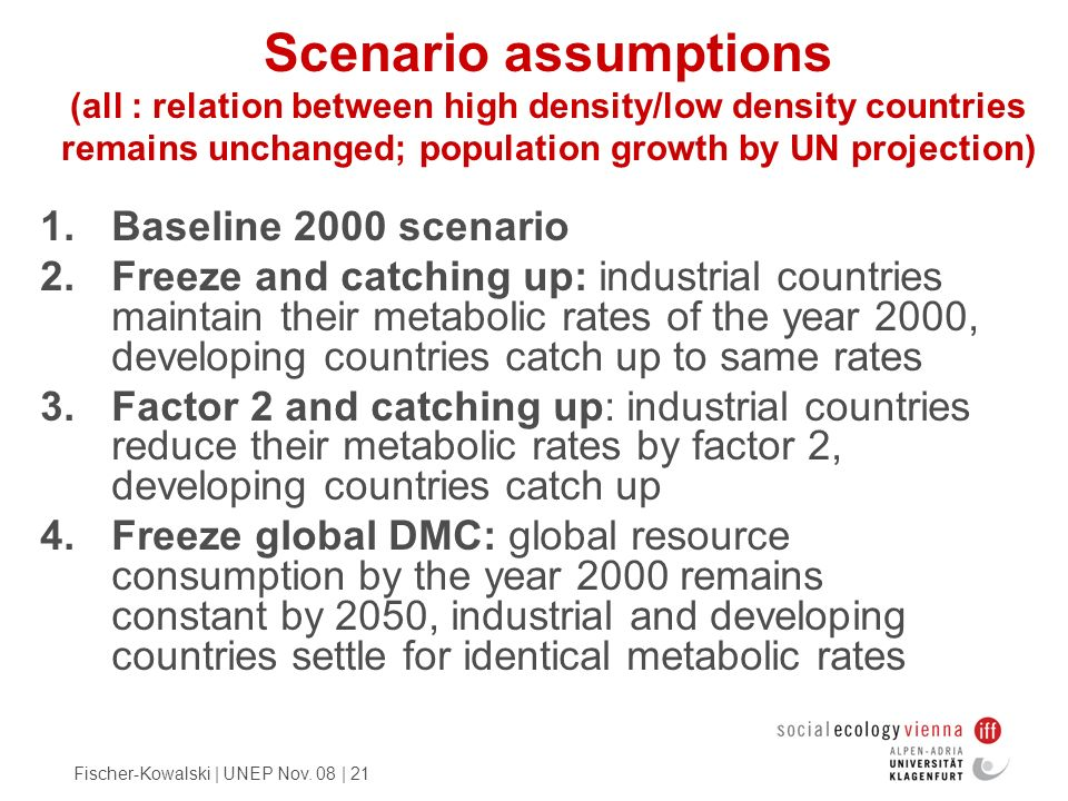 Fischer-Kowalski | UNEP Nov. 08 | 21 Scenario assumptions (all : relation between high density/low density countries remains unchanged; population gro