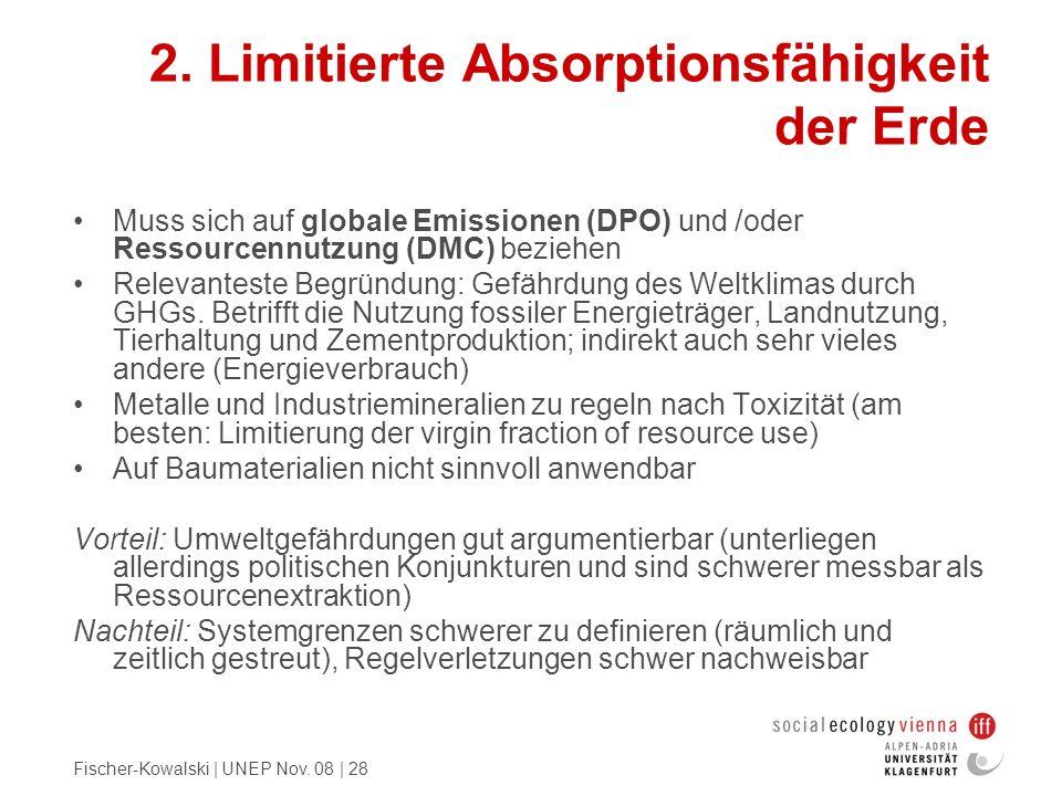 Fischer-Kowalski | UNEP Nov. 08 | 28 2. Limitierte Absorptionsfähigkeit der Erde Muss sich auf globale Emissionen (DPO) und /oder Ressourcennutzung (D