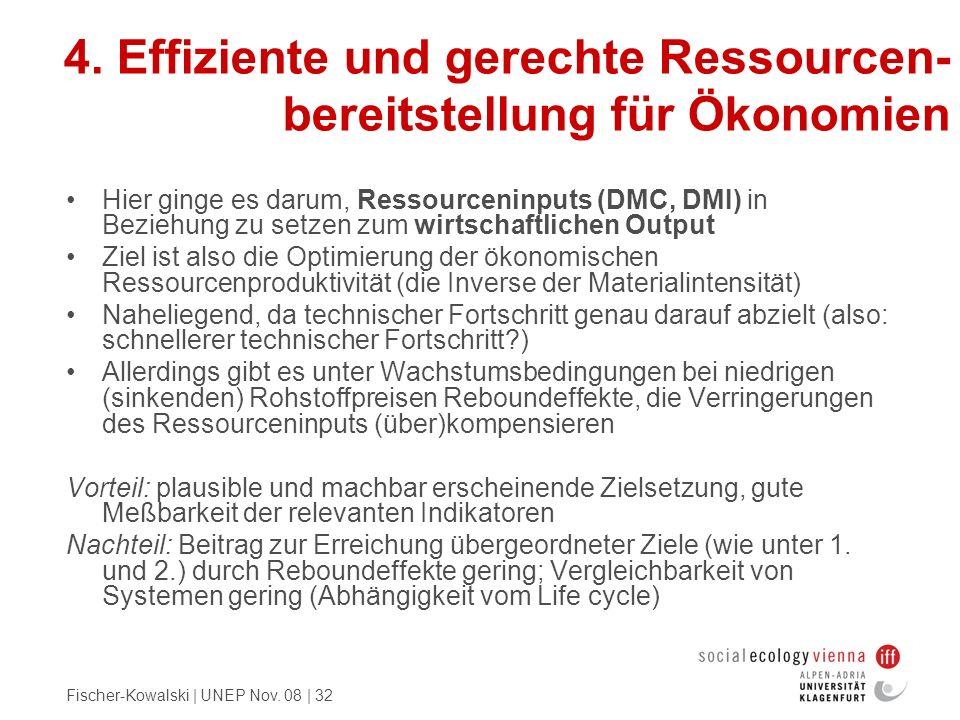 Fischer-Kowalski | UNEP Nov. 08 | 32 4. Effiziente und gerechte Ressourcen- bereitstellung für Ökonomien Hier ginge es darum, Ressourceninputs (DMC, D