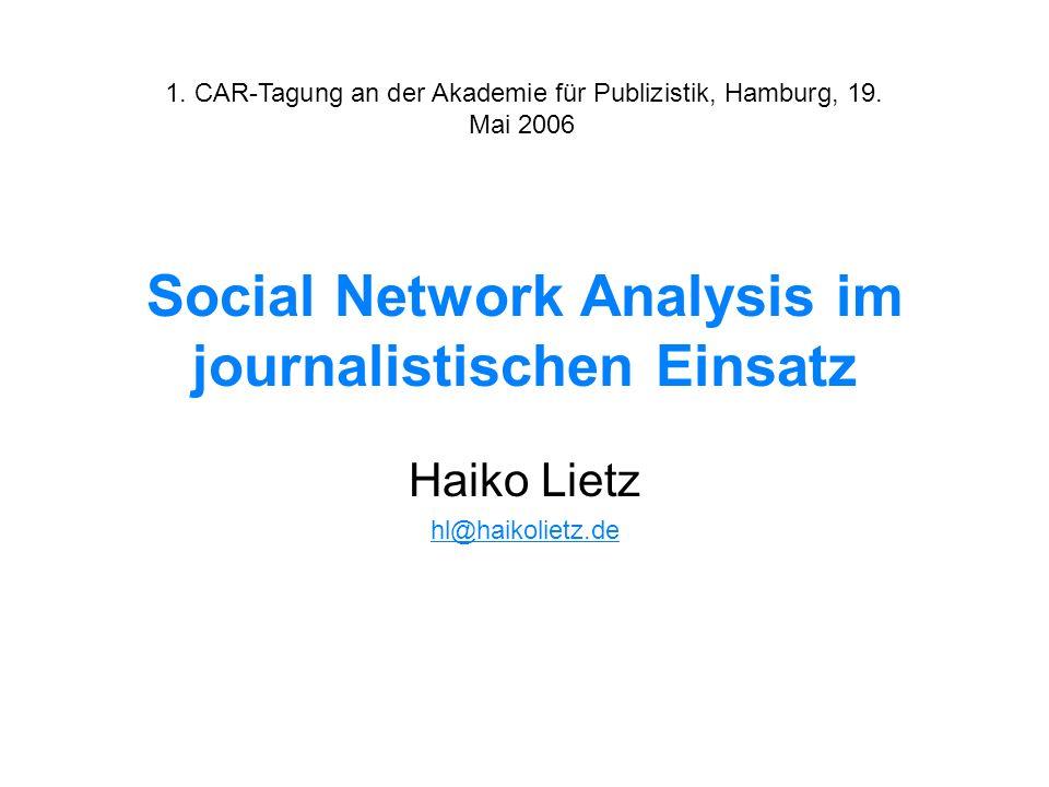 Social Network Analysis im journalistischen Einsatz Haiko Lietz hl@haikolietz.de 1. CAR-Tagung an der Akademie für Publizistik, Hamburg, 19. Mai 2006