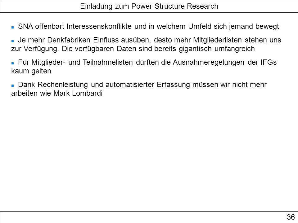 Einladung zum Power Structure Research 36 SNA offenbart Interessenskonflikte und in welchem Umfeld sich jemand bewegt Je mehr Denkfabriken Einfluss au