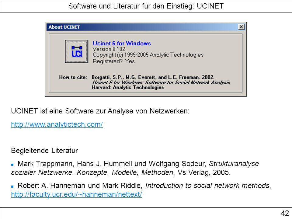 Software und Literatur für den Einstieg: UCINET 42 UCINET ist eine Software zur Analyse von Netzwerken: http://www.analytictech.com/ Begleitende Liter