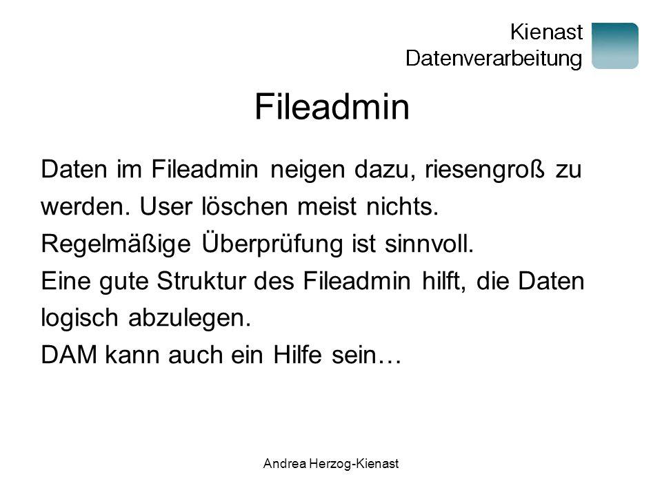 Andrea Herzog-Kienast Fileadmin Daten im Fileadmin neigen dazu, riesengroß zu werden.