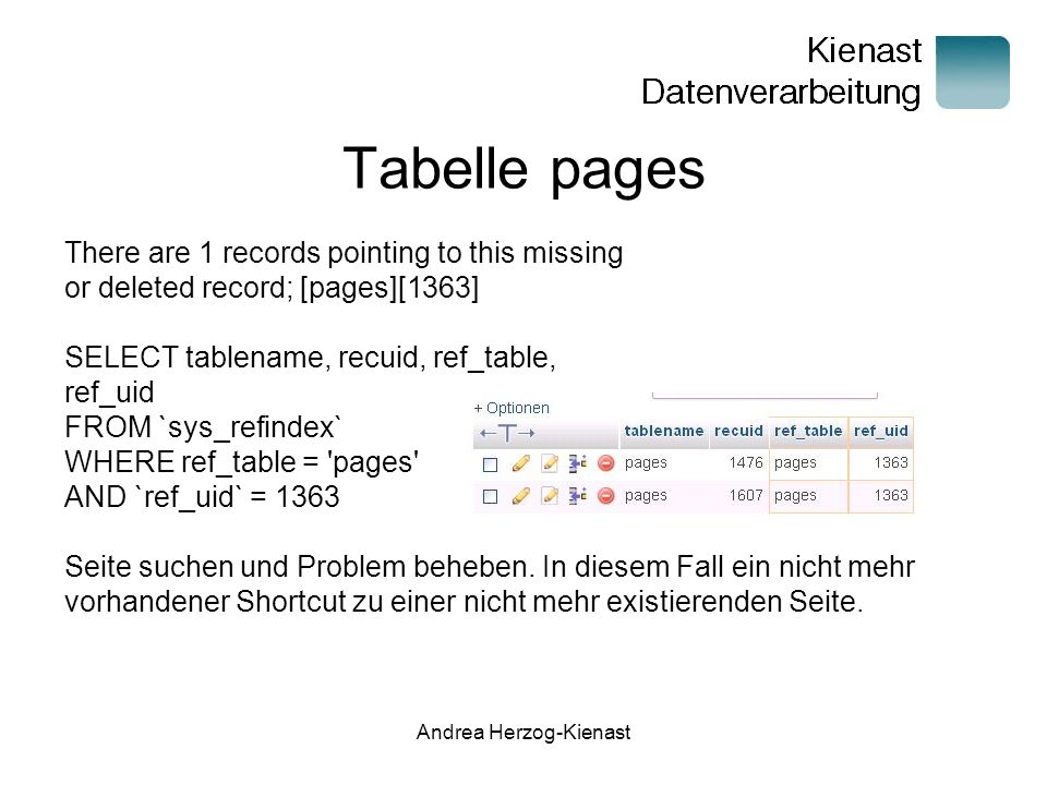 Andrea Herzog-Kienast Tabelle pages There are 1 records pointing to this missing or deleted record; [pages][1363] SELECT tablename, recuid, ref_table,