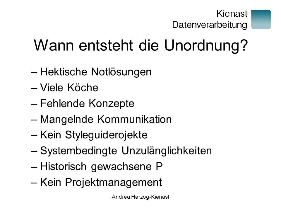 Andrea Herzog-Kienast Wann entsteht die Unordnung.
