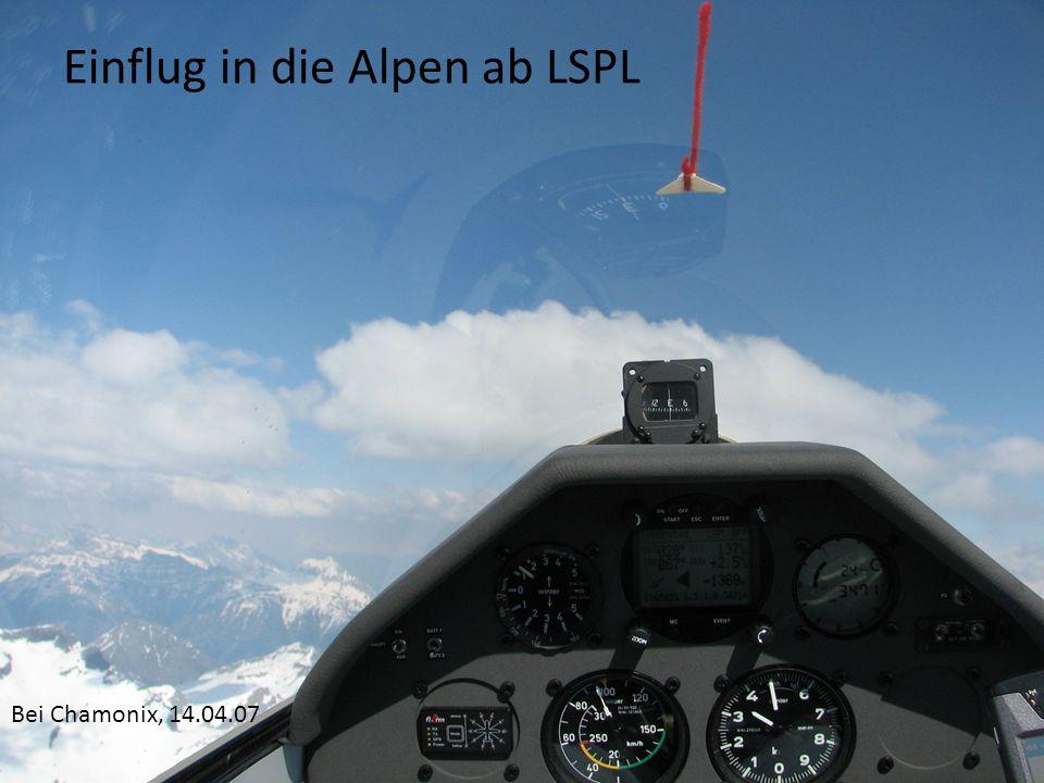 Einflug in die Alpen ab LSPL Bei Chamonix, 14.04.07