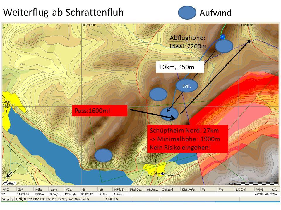 Pass:1600m! Schüpfheim Nord: 27km -> Minimalhöhe : 1900m Kein Risiko eingehen! Abflughöhe: ideal: 2200m Weiterflug ab Schrattenfluh Aufwind Evtl. 10km