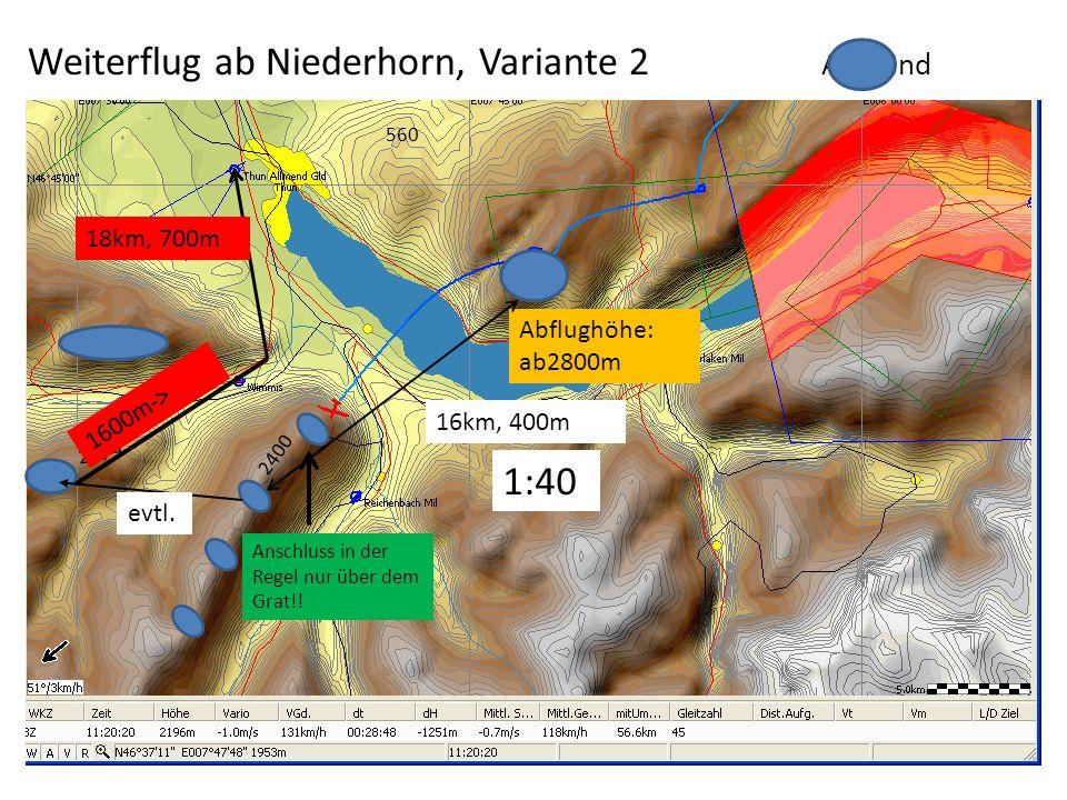 Abflughöhe: ab2800m Weiterflug ab Niederhorn, Variante 2 Aufwind Anschluss in der Regel nur über dem Grat!! 560 16km, 400m 1:40 evtl. 2400 2079 1600m-