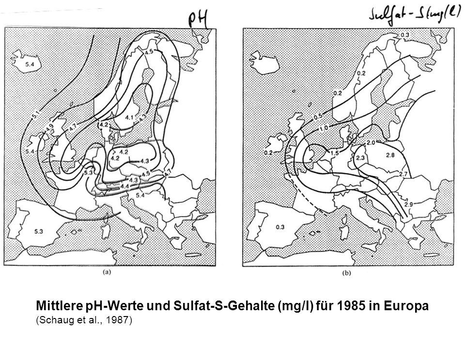 Mittlere pH-Werte und Sulfat-S-Gehalte (mg/l) für 1985 in Europa (Schaug et al., 1987)