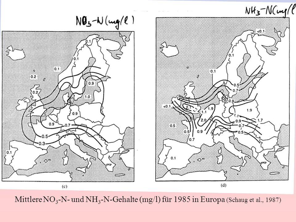 Mittlere NO 3 -N- und NH 3 -N-Gehalte (mg/l) für 1985 in Europa (Schaug et al., 1987)