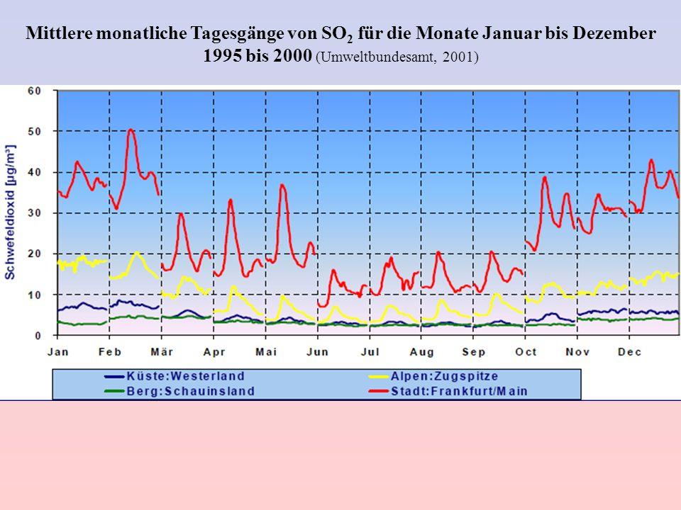 Mittlere monatliche Tagesgänge von SO 2 für die Monate Januar bis Dezember 1995 bis 2000 (Umweltbundesamt, 2001)
