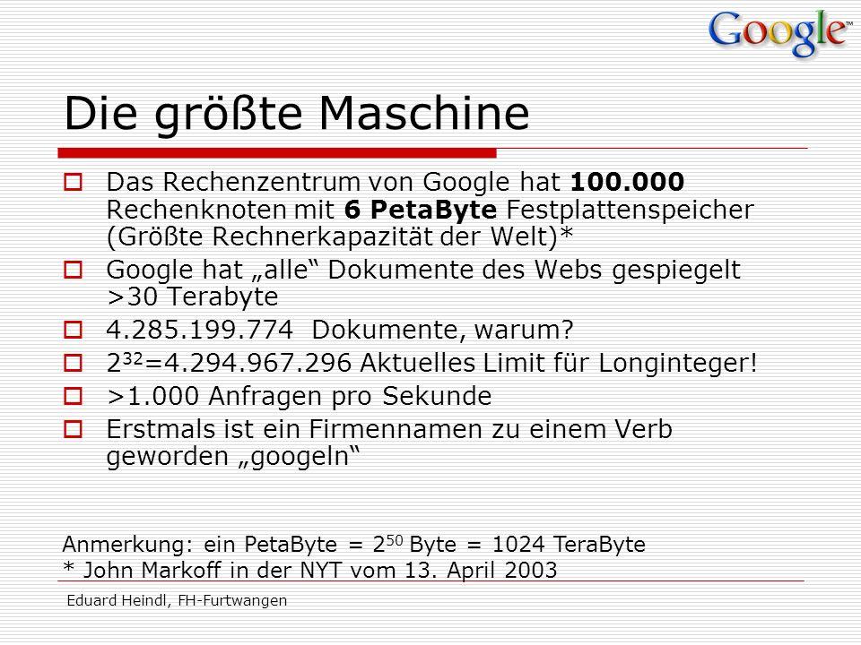 Eduard Heindl, FH-Furtwangen Die größte Maschine Das Rechenzentrum von Google hat 100.000 Rechenknoten mit 6 PetaByte Festplattenspeicher (Größte Rech