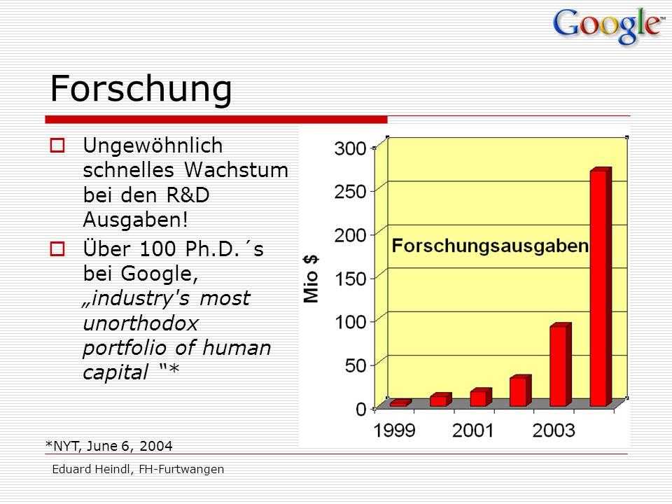 Eduard Heindl, FH-Furtwangen Forschung Ungewöhnlich schnelles Wachstum bei den R&D Ausgaben! Über 100 Ph.D.´s bei Google, industry's most unorthodox p
