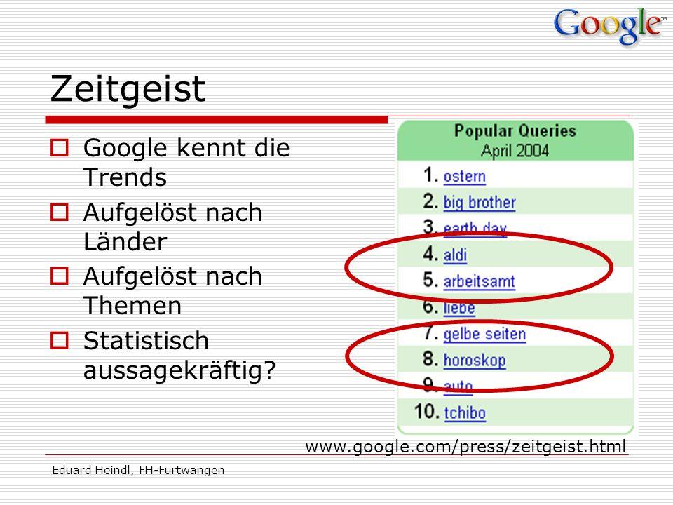 Eduard Heindl, FH-Furtwangen Zeitgeist Google kennt die Trends Aufgelöst nach Länder Aufgelöst nach Themen Statistisch aussagekräftig? www.google.com/