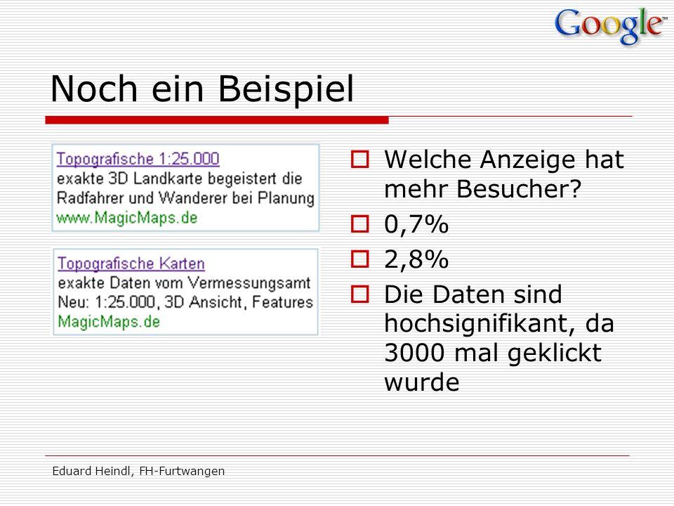 Eduard Heindl, FH-Furtwangen Noch ein Beispiel Welche Anzeige hat mehr Besucher? 0,7% 2,8% Die Daten sind hochsignifikant, da 3000 mal geklickt wurde