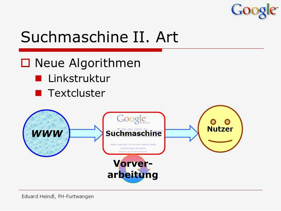 Eduard Heindl, FH-Furtwangen Suchmaschine II. Art Neue Algorithmen Linkstruktur Textcluster WWW Suchmaschine Nutzer Vorver- arbeitung