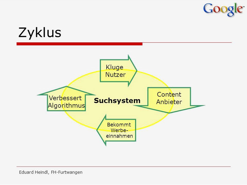 Eduard Heindl, FH-Furtwangen Suchsystem Zyklus Verbessert Algorithmus Kluge Nutzer Bekommt Werbe- einnahmen Content Anbieter