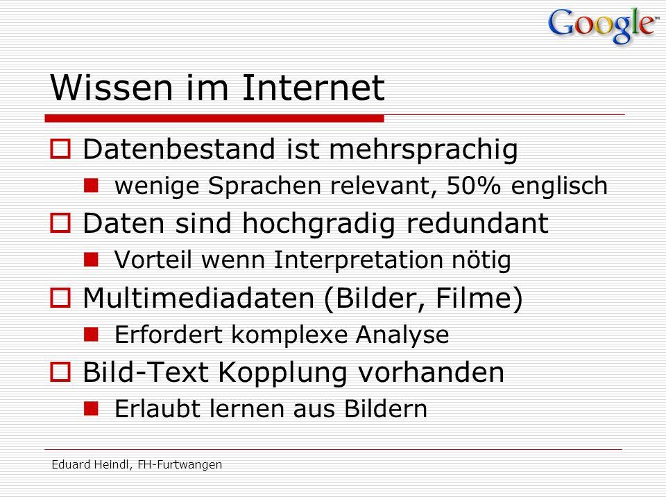 Eduard Heindl, FH-Furtwangen Wissen im Internet Datenbestand ist mehrsprachig wenige Sprachen relevant, 50% englisch Daten sind hochgradig redundant V