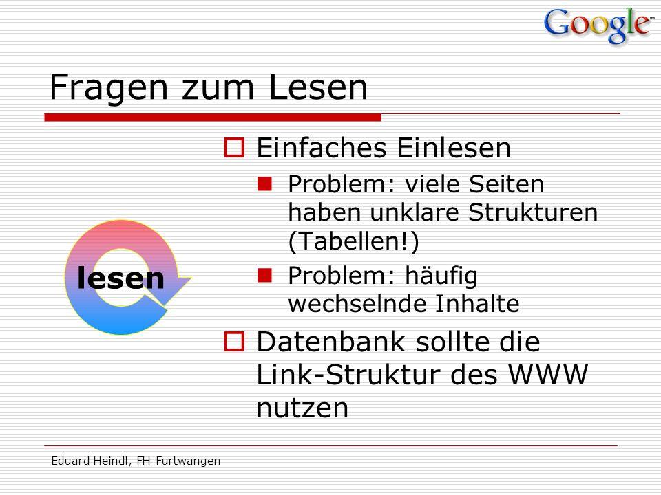 Eduard Heindl, FH-Furtwangen Fragen zum Lesen Einfaches Einlesen Problem: viele Seiten haben unklare Strukturen (Tabellen!) Problem: häufig wechselnde
