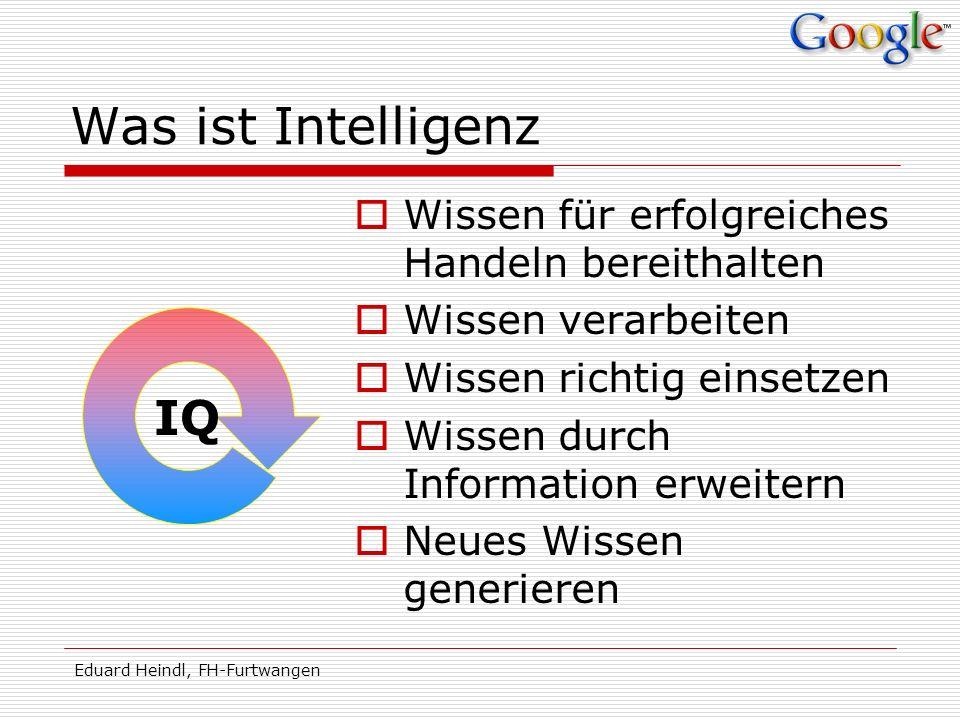 Eduard Heindl, FH-Furtwangen Was ist Intelligenz Wissen für erfolgreiches Handeln bereithalten Wissen verarbeiten Wissen richtig einsetzen Wissen durc