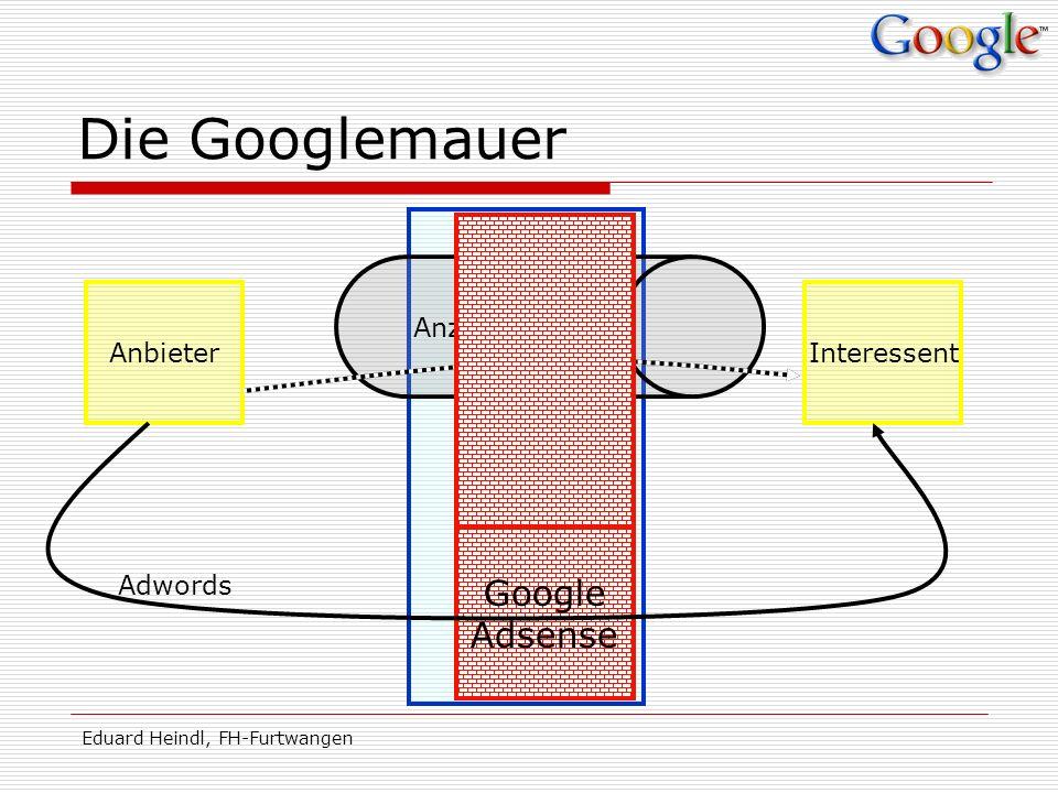 Eduard Heindl, FH-Furtwangen Die Googlemauer AnbieterInteressent Medien Anzeigentunnel Google Adsense Adwords