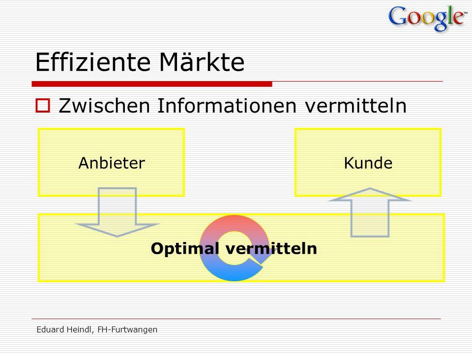 Eduard Heindl, FH-Furtwangen Effiziente Märkte Zwischen Informationen vermitteln AnbieterKunde Optimal vermitteln