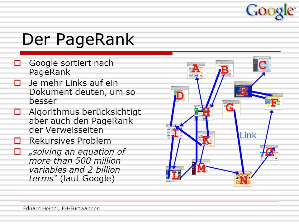 Eduard Heindl, FH-Furtwangen Der PageRank Google sortiert nach PageRank Je mehr Links auf ein Dokument deuten, um so besser Algorithmus berücksichtigt