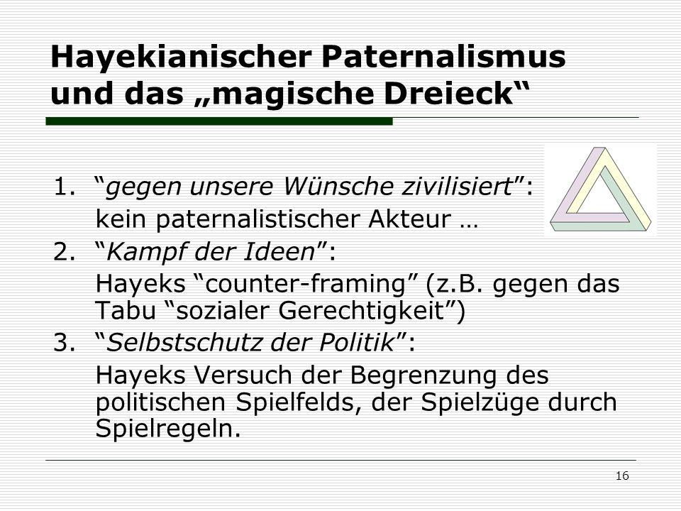 16 Hayekianischer Paternalismus und das magische Dreieck 1. gegen unsere Wünsche zivilisiert: kein paternalistischer Akteur … 2. Kampf der Ideen: Haye
