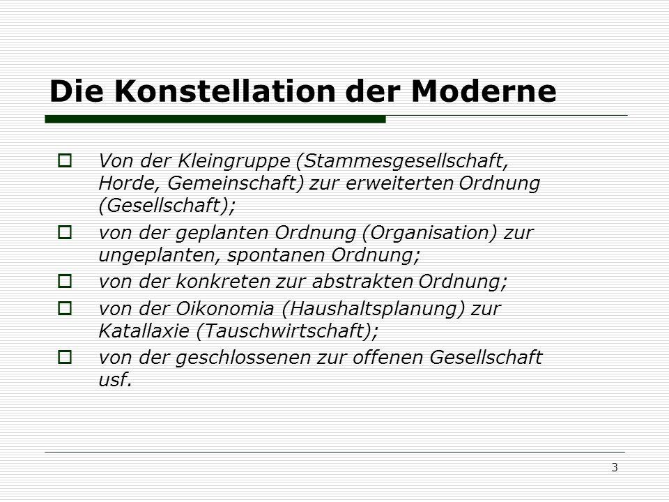 3 Die Konstellation der Moderne Von der Kleingruppe (Stammesgesellschaft, Horde, Gemeinschaft) zur erweiterten Ordnung (Gesellschaft); von der geplant